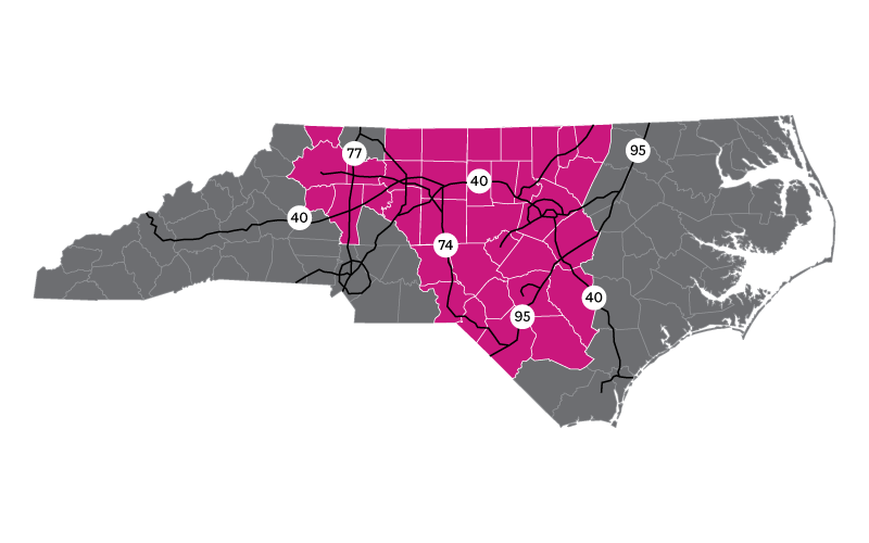 North Carolina Marketplace Insurance Coverage Map Ambetter Of North Carolina